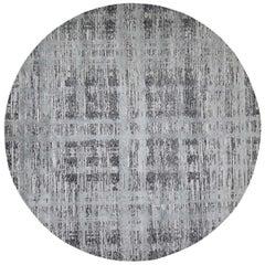 Hand Spun Undyed Natural Wool Modern Round Oriental Hand Knotted Rug