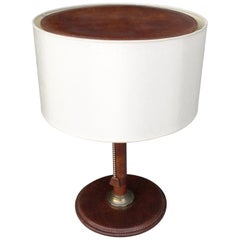 Handstitched Cognac Brown Patina Leather Table Lamp, France, 1960s