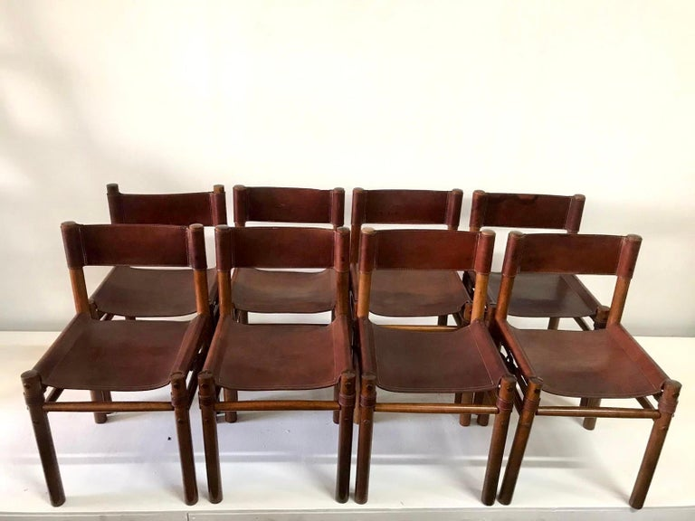 Hand Stitched Leather Estancia Chairs, Set of 8 For Sale 5