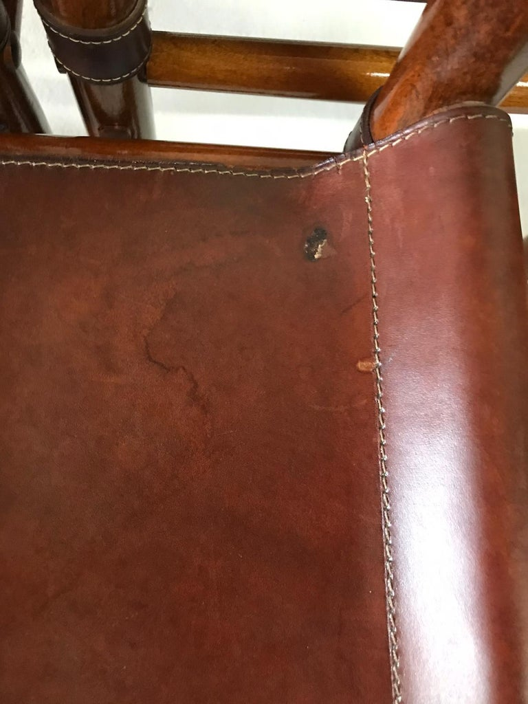 Hand Stitched Leather Estancia Chairs, Set of 8 For Sale 7