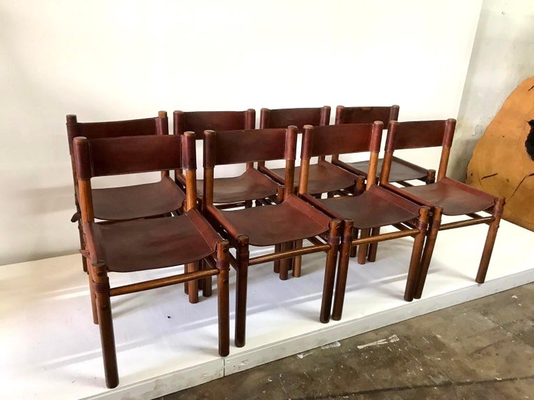 Mid-20th Century Hand Stitched Leather Estancia Chairs, Set of 8 For Sale