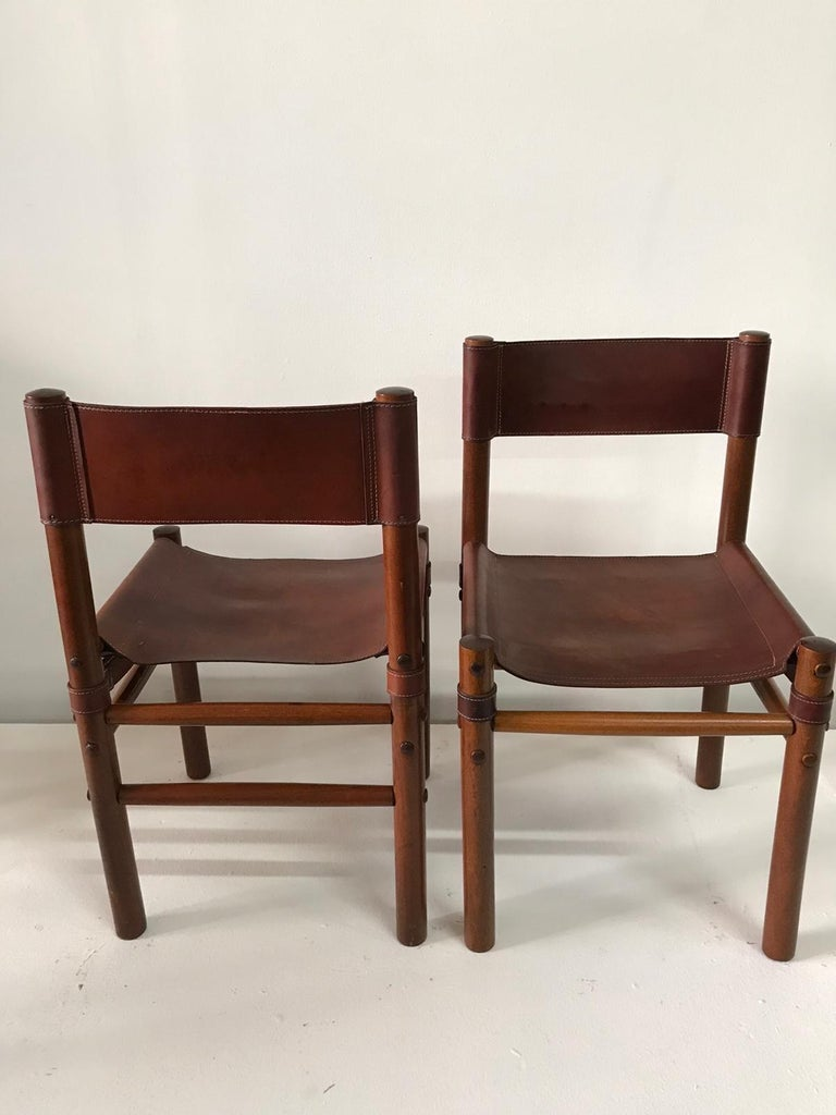 Hand Stitched Leather Estancia Chairs, Set of 8 For Sale 3