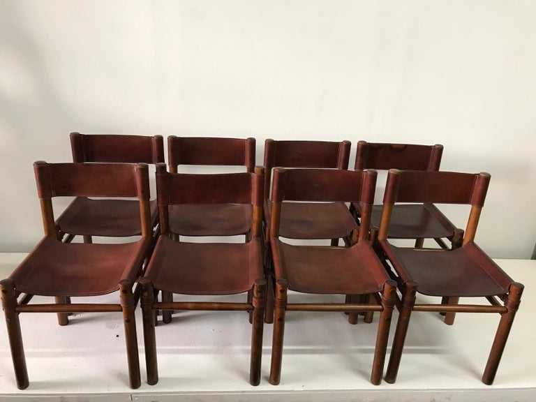 Hand Stitched Leather Estancia Chairs, Set of 8 For Sale 4