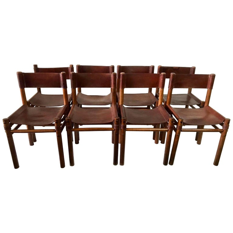 Hand Stitched Leather Estancia Chairs, Set of 8 For Sale