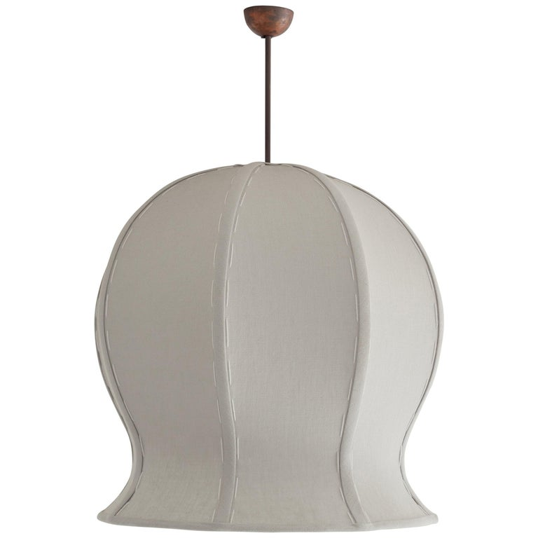 Hand-Stitched Linen, Brass and Copper Pendant Lamp, Tulip 520 by Wende Reid For Sale