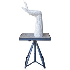 Hand Study Sculpture in Plaster by Laszlo Ispanky on Metal Stand