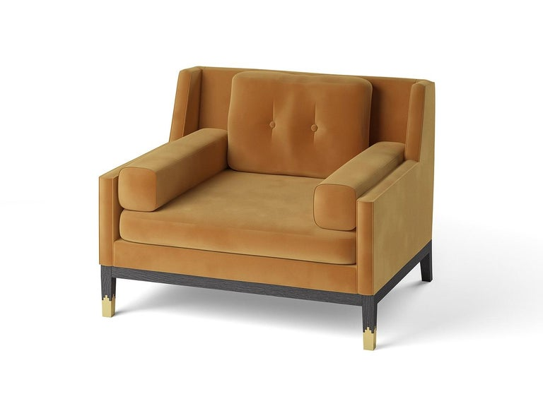 Modern Hand Tailored Armchair, Black Oak Frame/COM For Sale