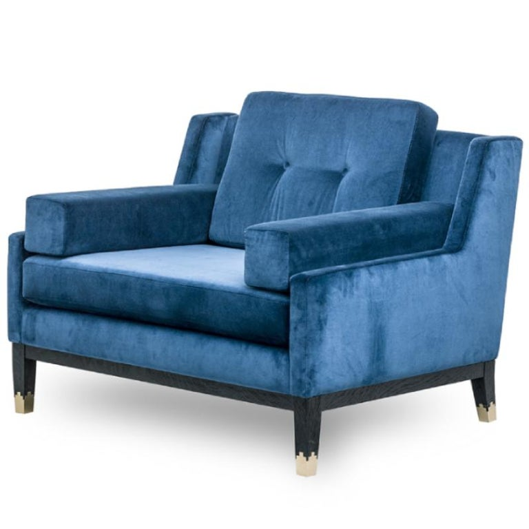 European Hand Tailored Armchair, Black Oak Frame/COM For Sale