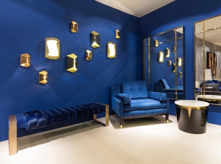 Contemporary Hand Tailored Armchair, Black Oak Frame/COM For Sale