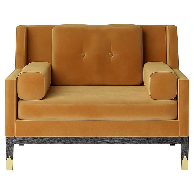 Hand Tailored Armchair, Black Oak Frame/COM For Sale