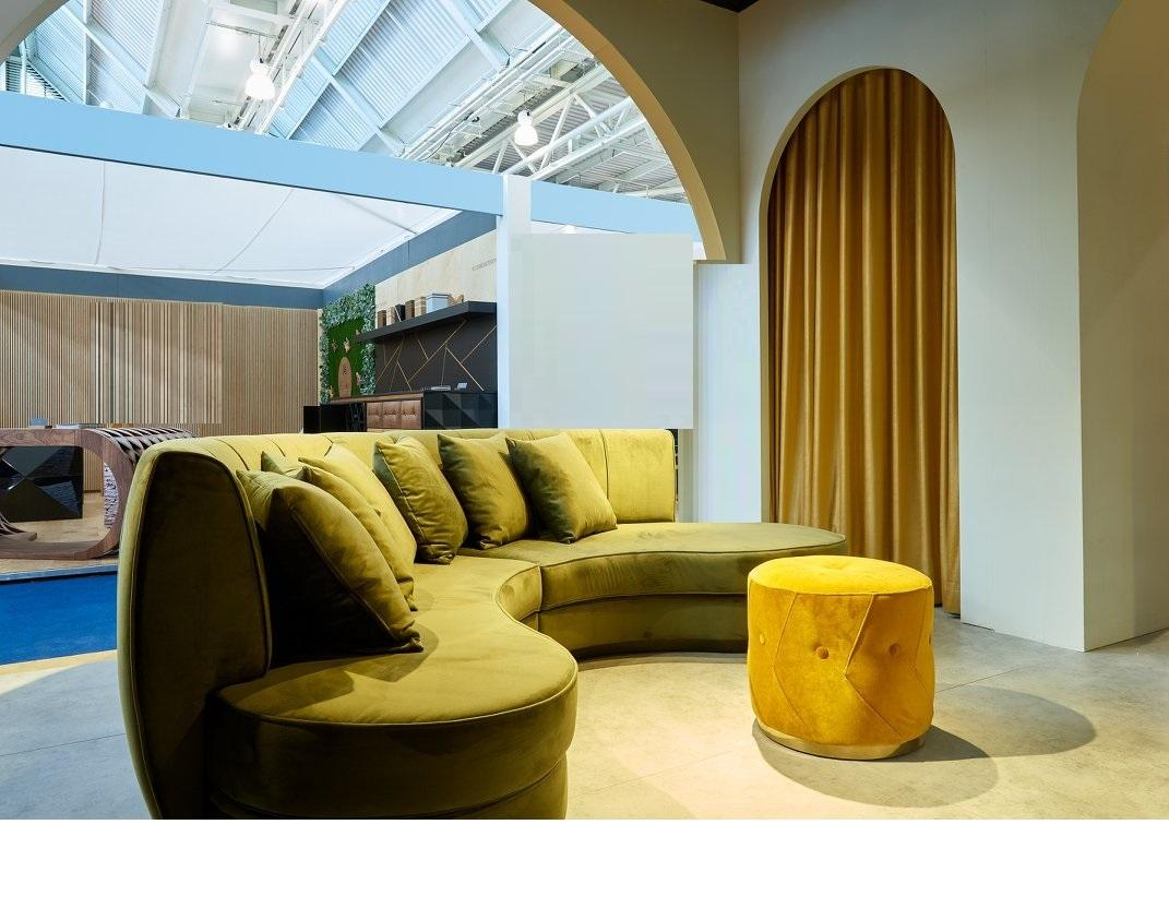 Hand Tailored Curved Sectional Sofa In Mustard Yellow Velvet For Sale At 1stdibs