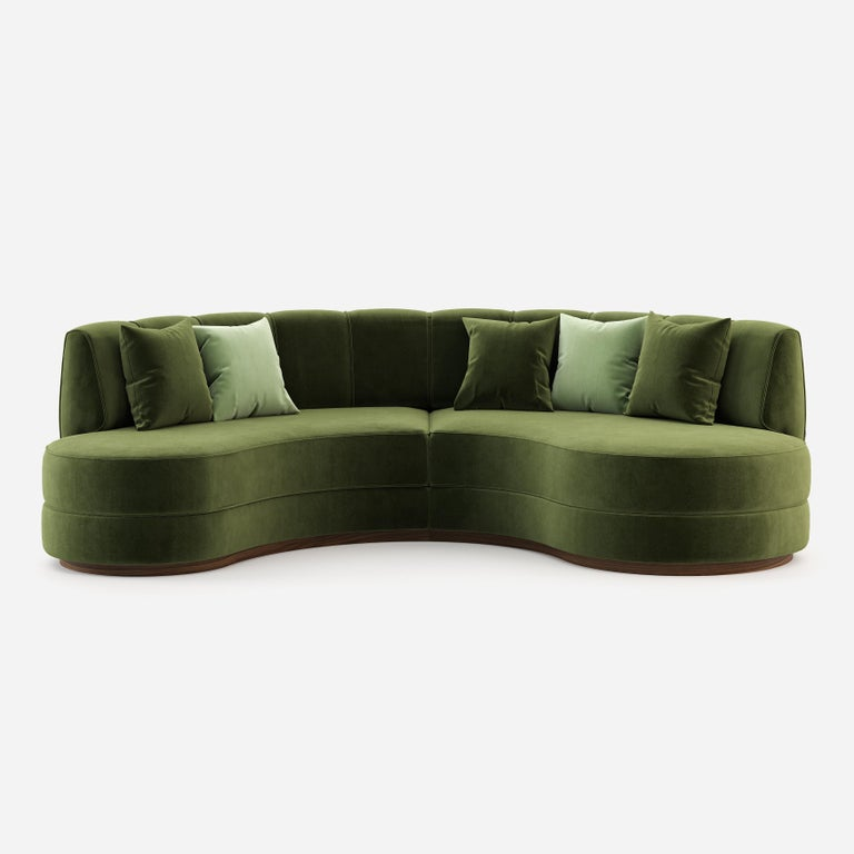 Modern Hand-Tailored Curved Sectional Sofa in Mustard Yellow Velvet For Sale