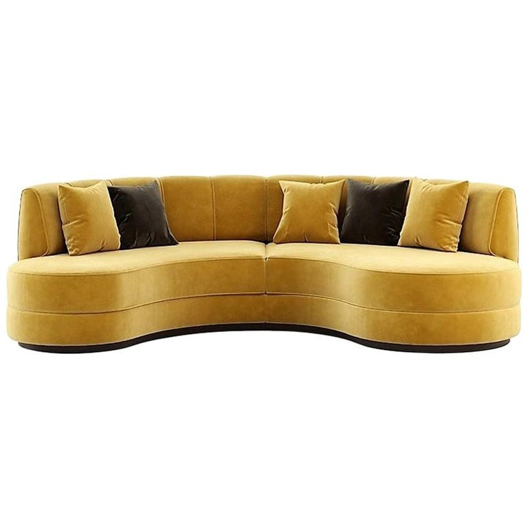 Hand-Tailored Curved Sectional Sofa in Mustard Yellow Velvet For Sale