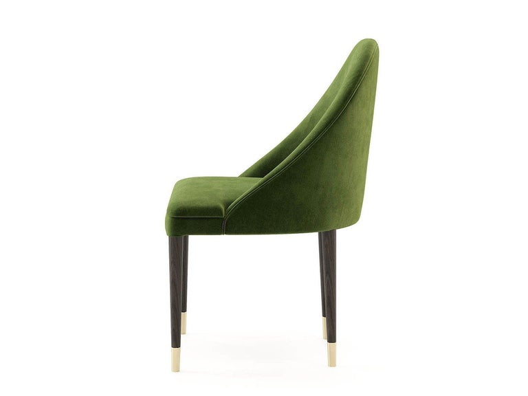 Modern Hand Tailored Dining Chairs in Green Velvet, Set of 8 For Sale