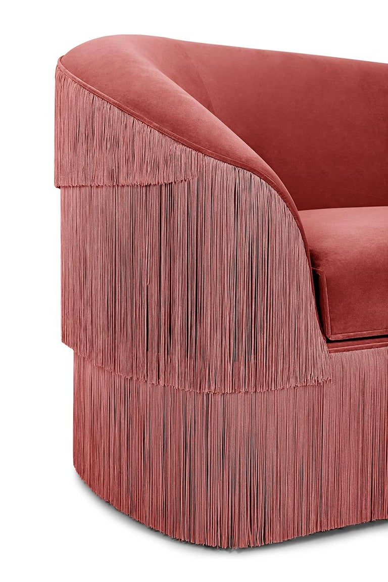 Portuguese Hand Tailored Fringes 2-Seat Sofa in Antique Pink Velvet For Sale