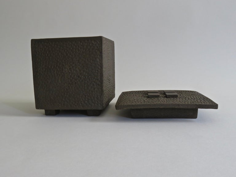 Hand-Textured Box in Raw Brown Clay with Orange Glazed Interior and Lid For Sale 4