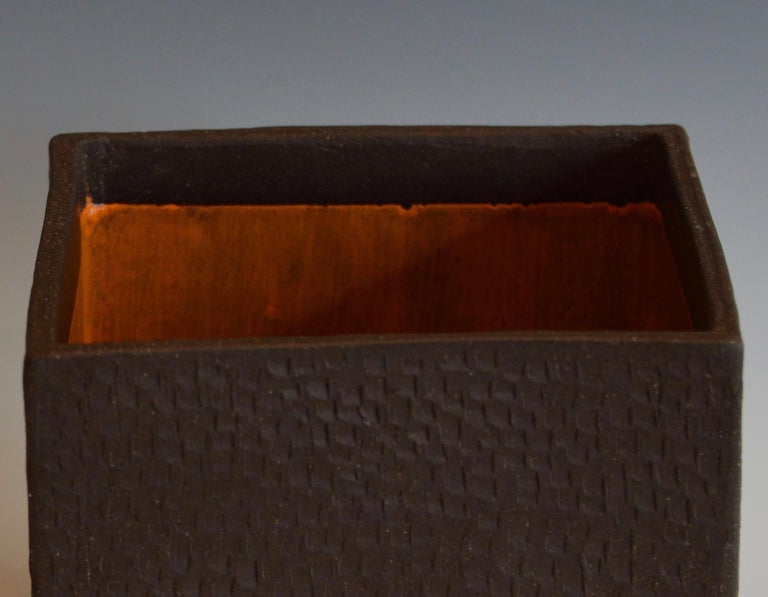 Hand-Textured Box in Raw Brown Clay with Orange Glazed Interior and Lid For Sale 5