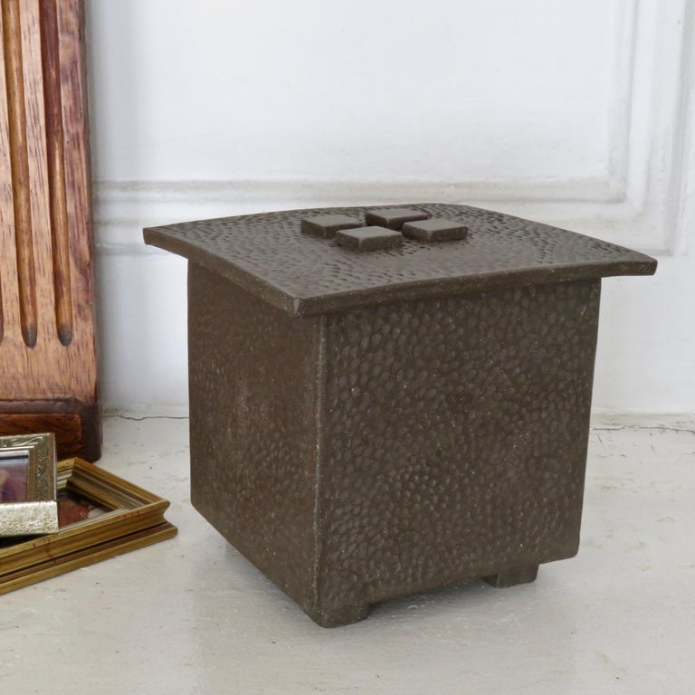 Contemporary Hand-Textured Box in Raw Brown Clay with Orange Glazed Interior and Lid For Sale