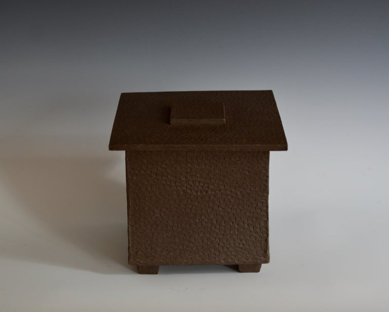 Hand-Textured Box in Raw Brown Clay with Orange Glazed Interior and Lid For Sale 2