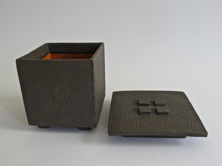 Hand-Textured Box in Raw Brown Clay with Orange Glazed Interior and Lid In New Condition For Sale In New York, NY