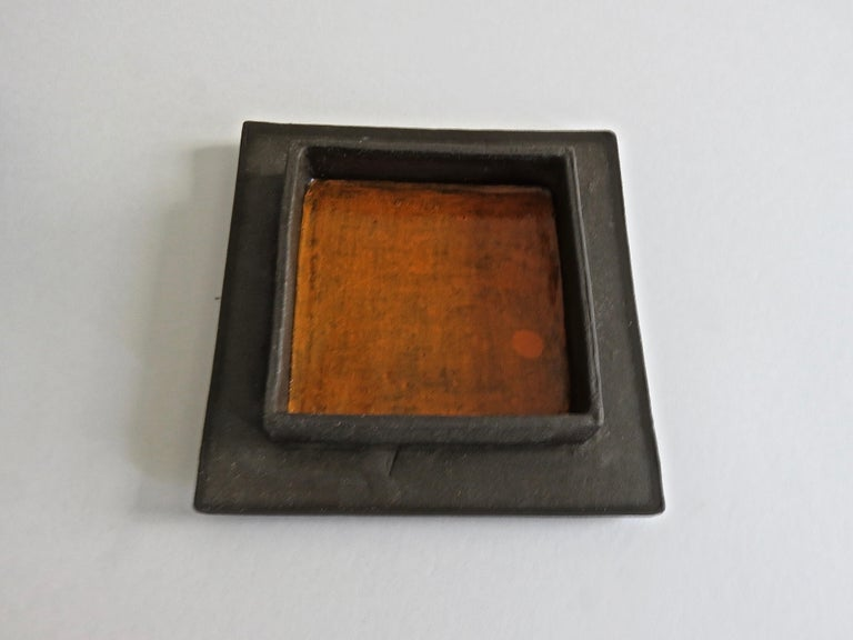 Hand-Textured Box in Raw Brown Clay with Orange Glazed Interior and Lid For Sale 3
