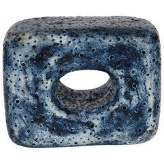 Hand Textured Ceramic Sculpture, Oblong Cube with Oval Opening in Deep Blue Wash