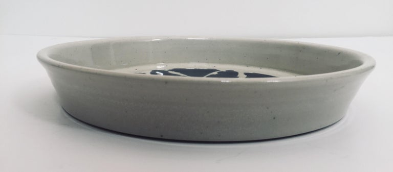 Hand Thrown Glazed, Signed and Dated Artisanal Ceramic Pottery Bowl For Sale 3