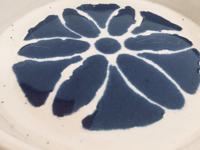 Hand Thrown Glazed, Signed and Dated Artisanal Ceramic Pottery Bowl For Sale 5