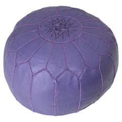 Hand-Tooled Vintage Moroccan Lavender Color Leather Pouf