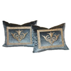 Hand Trimmed Velvet Pillows with Silver Metallic Cording, Knotted in the Corner