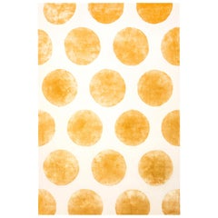 Hand Tufted Wool and Silk Rug Made in Spain Mustard and White Polka Dots
