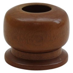 Hand Turned Afrormosia Wooden Pot 1950s Signed