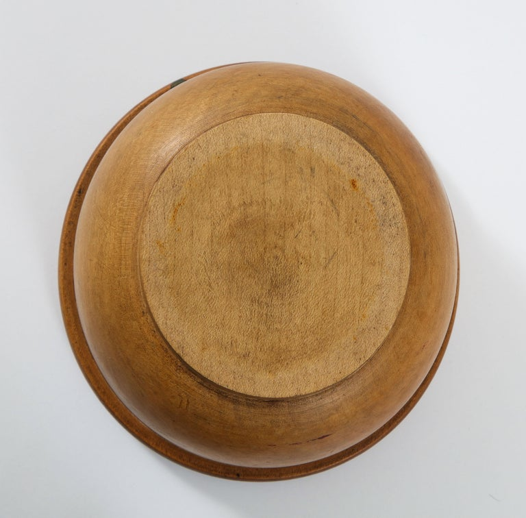 Hand-Turned American Wood Bowl with Thick Rim For Sale 1