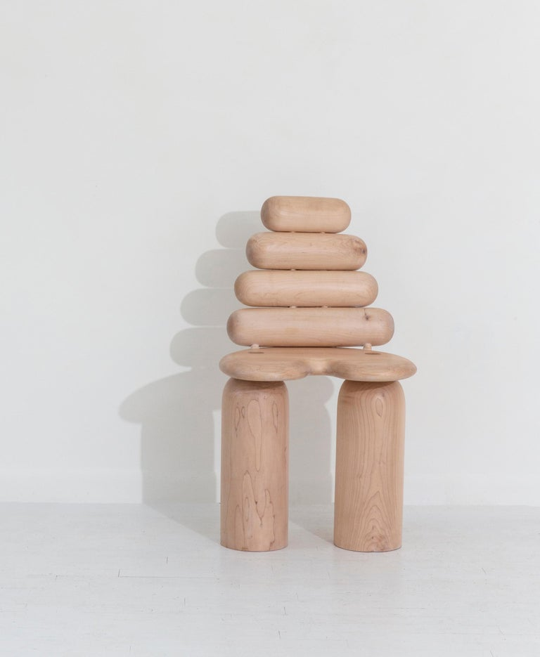 Hand-Turned Maple Stack Dining or Side Chair by Jackrabbit Studio In New Condition For Sale In Brooklyn, NY