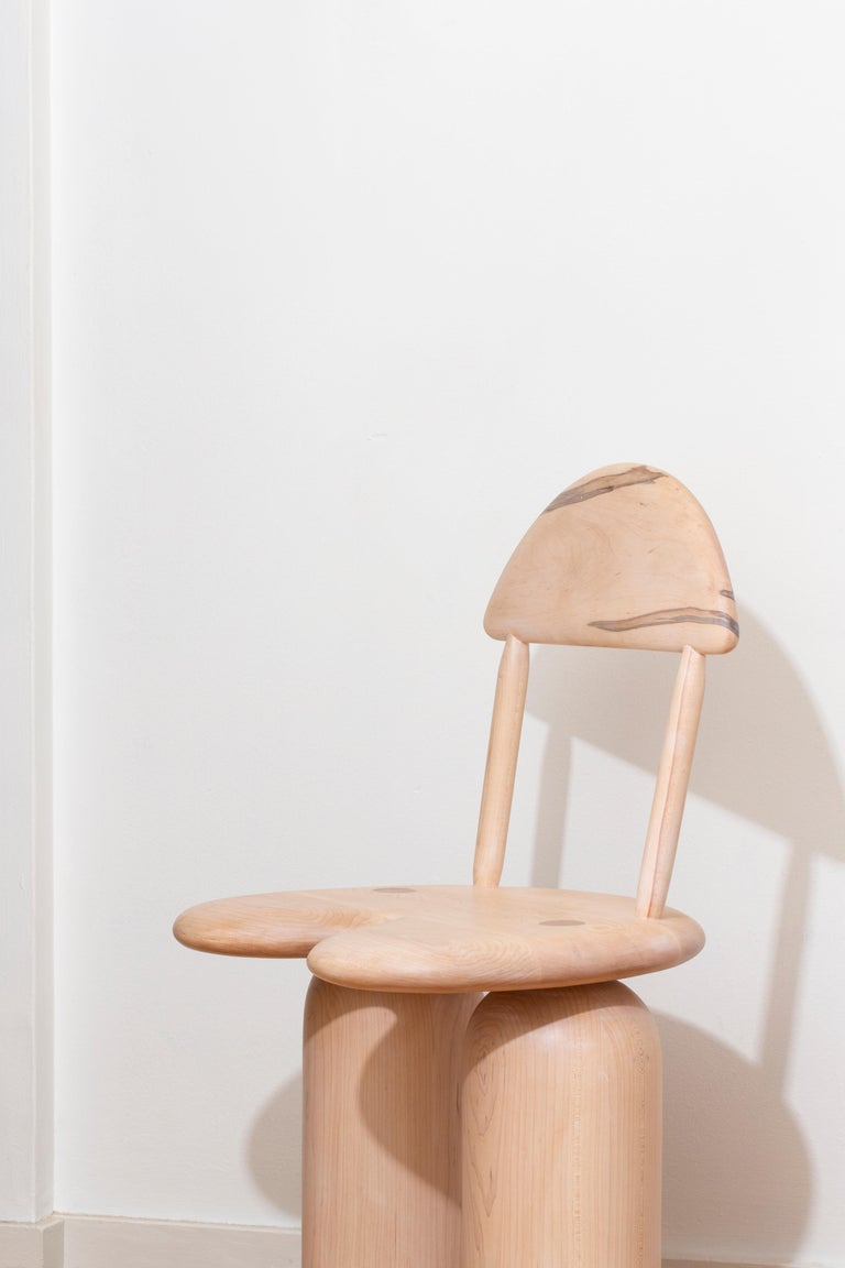 Modern Hand-Turned Maple Tusk Dining or Side Chair by Jackrabbit Studio For Sale