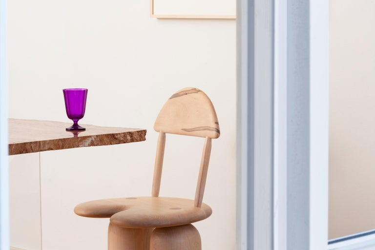 American Hand-Turned Maple Tusk Dining or Side Chair by Jackrabbit Studio For Sale