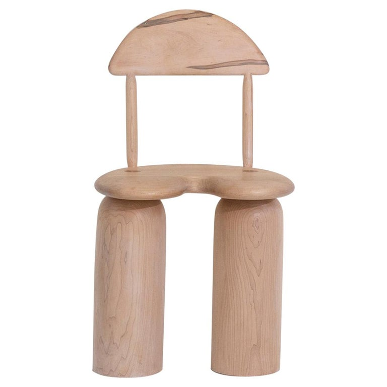 Hand-Turned Maple Tusk Dining or Side Chair by Jackrabbit Studio For Sale