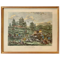 """La Pleine Vendange"" a hand Watercolored Print Depicting the Grape Harvest"