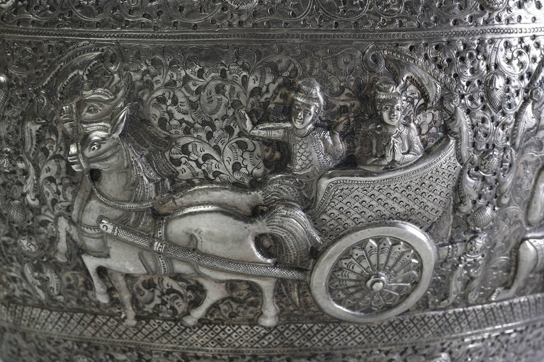 Hand-Worked Solid Silver Burmese Ceremonial Bowl, High Relief Jataka Scenes In Excellent Condition For Sale In 10 Chater Road, HK