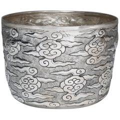 Handgearbeitete Zeremonien-Schale aus massivem Silber, Ruyi-Wolkenmotiv, Tafelaufsatz
