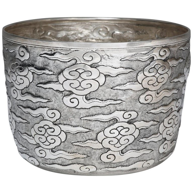 Hand-Worked Solid Silver Ceremonial Bowl, Ruyi Cloud Motif, Centrepiece For Sale