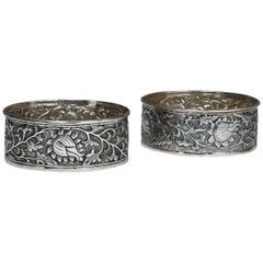Hand-Worked Solid Silver Wine Coasters, Chinese Lotus Motif, Tableware