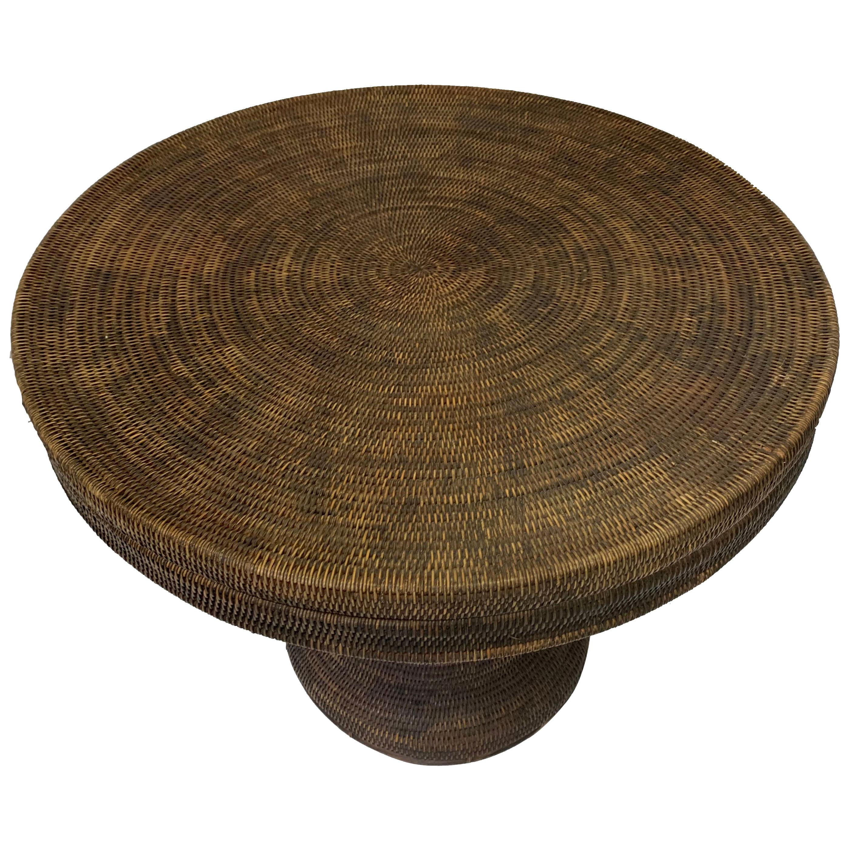 Hand Woven Basket or Side Table with Hand Carved Details