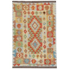 Handwoven Carpet Rug Kilim Rugs with Traditional Design, Multicolored
