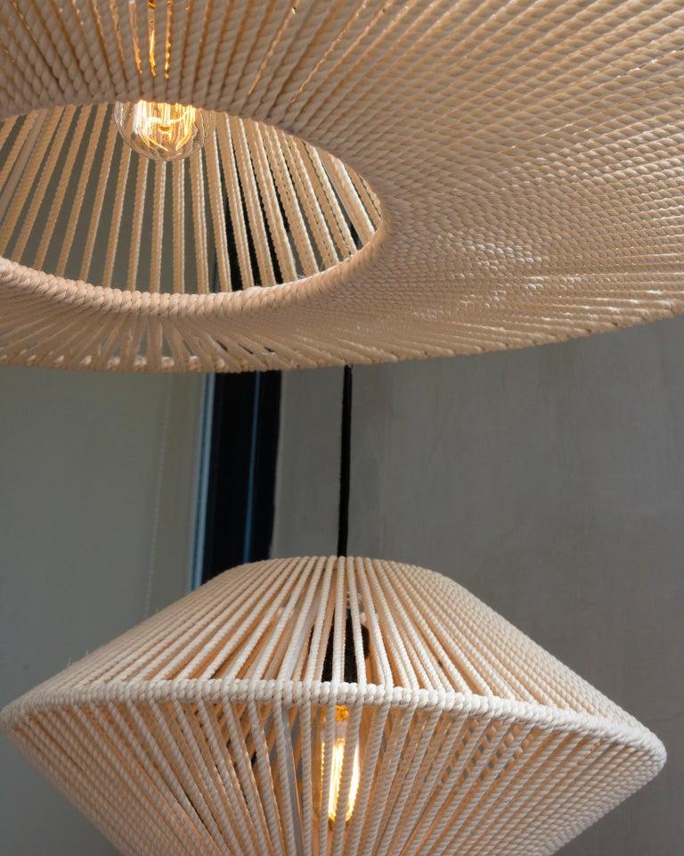Organic Modern Handwoven Bebop Tall Cotton Light Screen - Mexico City - León León Design  For Sale