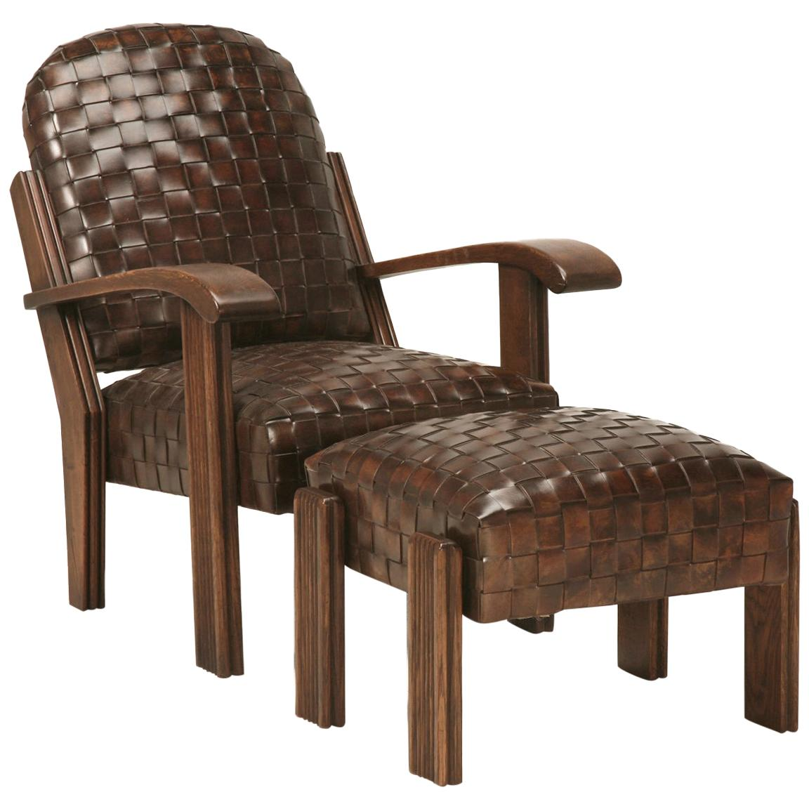 Handwoven French Inspired Leather Club Chair with Matching Ottoman