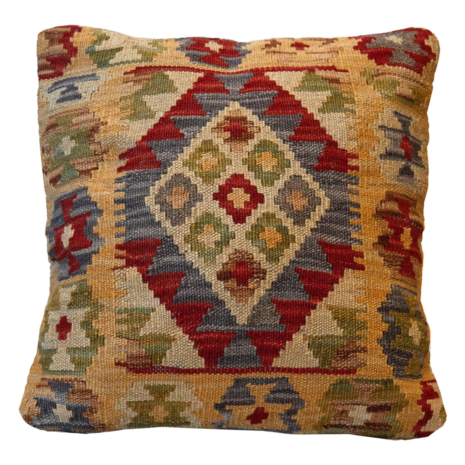 Hand Woven Kilim Cushion Cover Oriental Pillow Case Red Blue Beige Wool