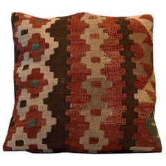 Hand Woven Kilim Decorative Pillow, Bench Cushion Cover Hand Knotted