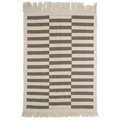 8x10.8 Ft Natural Undyed Wool Rug. Color Blocked Minimalist Flatweave CUSTOM OPT