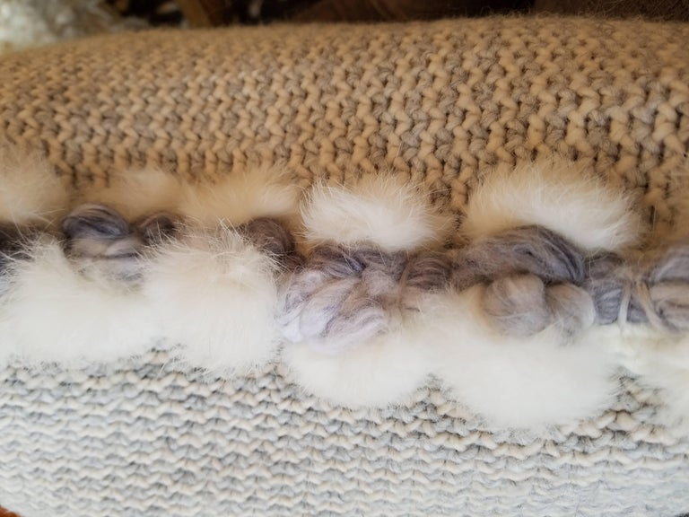 Handwoven Merino Wool Pillow with Angora Trim by Le Lampade Wonderfully soft Merino wool handwoven and trimmed with hand tufted angora. Feather and down inserts with hidden zippers.  Made in Italy.